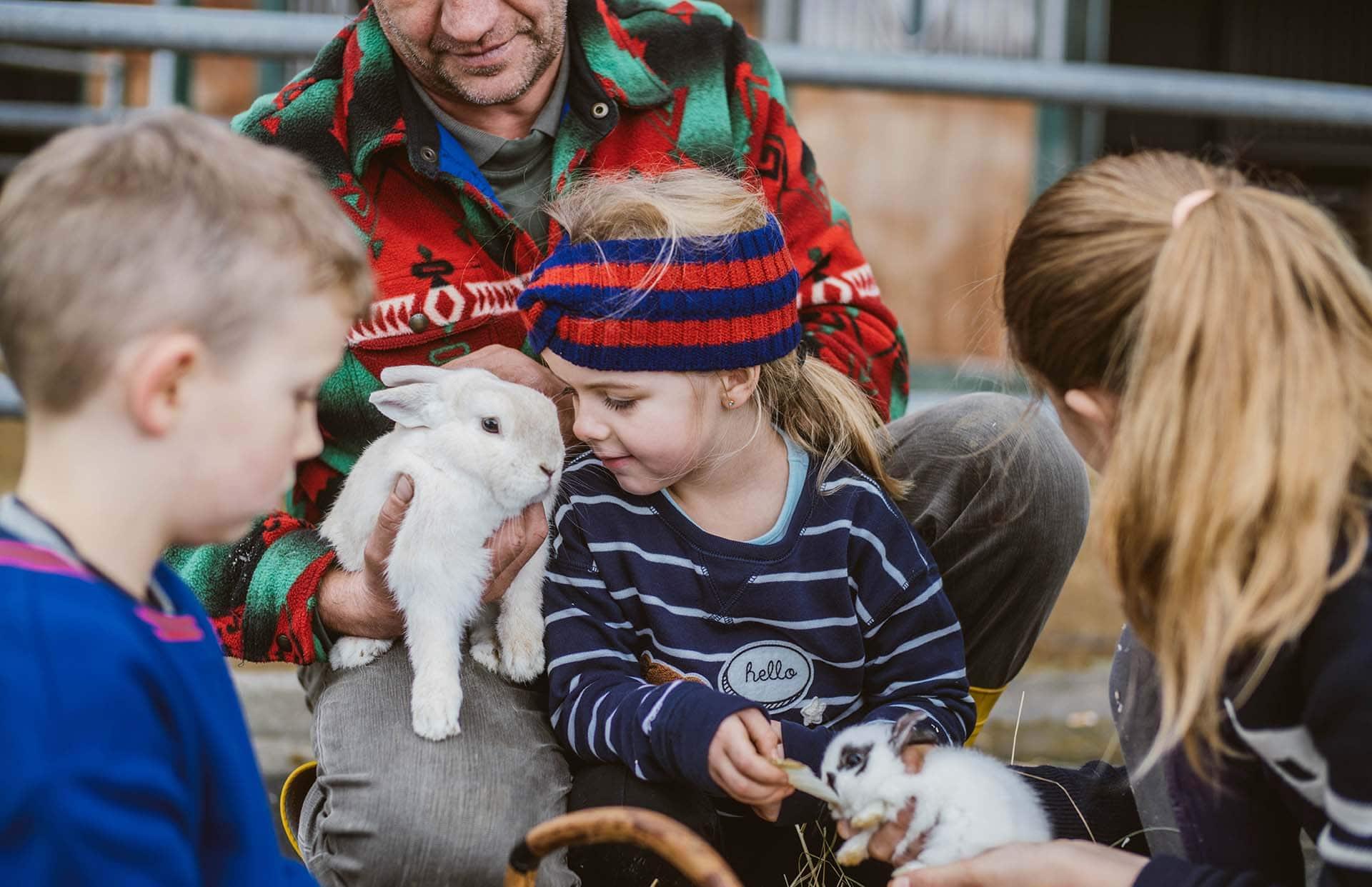 Kinder beim Streicheln und Füttern der Hasen