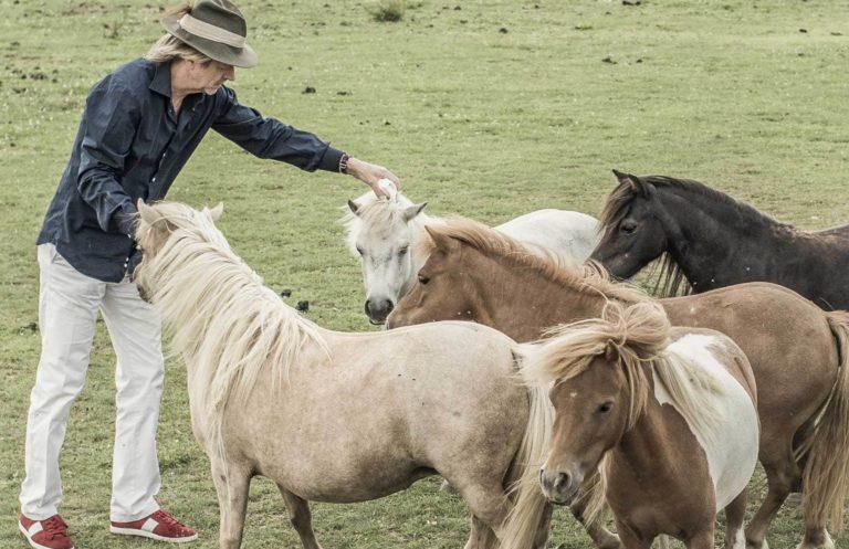 Karl J. Reiter beim Streicheln der Pferde