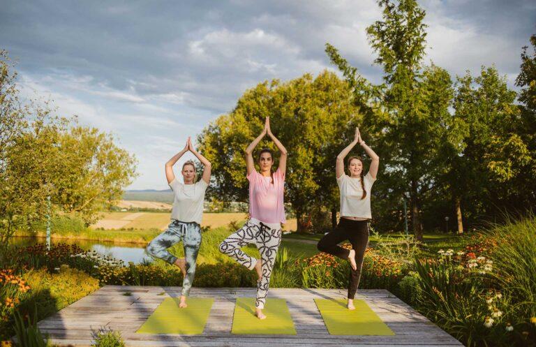 Yoga auf Plateaus im Reserve Garten
