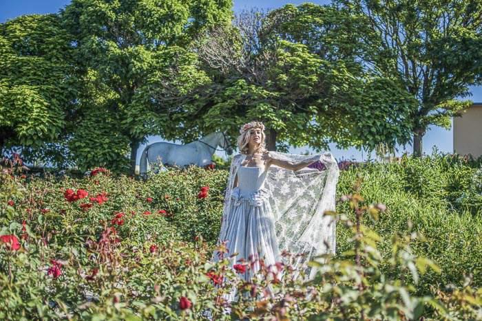 Märchenprinzessin und Lipizzaner im Rosengarten